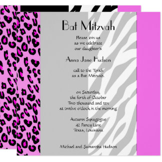 Bat Mitzvah - Animal Print, Zebra, Leopard - Pink Card