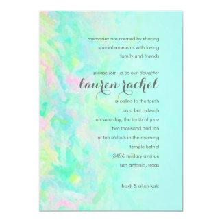 Bat Mitzvah Aqua and Pink Design 13 Cm X 18 Cm Invitation Card
