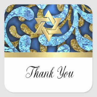 Bat Mitzvah Blue and Gold Layered Sea Weed Square Sticker