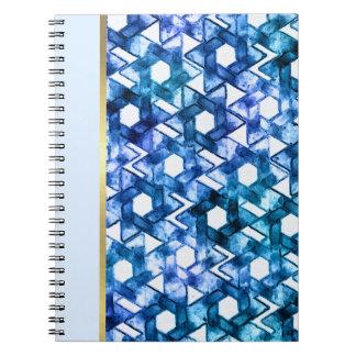 Bat Mitzvah Blue Medley Watercolor Star Damask Notebook