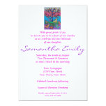 Bat Mitzvah - Butterfly Gathering Tree Of Life 13 Cm X 18 Cm Invitation Card