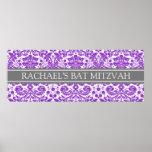 Bat Mitzvah Custom Name Banner Purple Damask