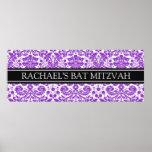 Bat Mitzvah Custom Name Banner Purple Damask Poster
