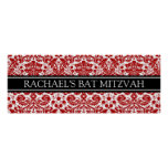 Bat Mitzvah Custom Name Banner Red Damask Poster