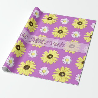 Bat Mitzvah Daisies Radiant Orchid Wrap Paper