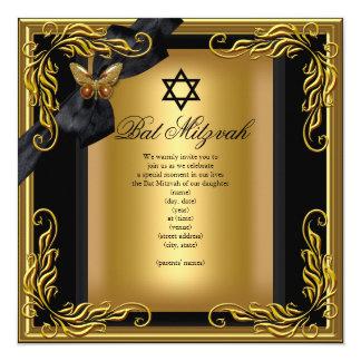 Bat Mitzvah Elegant Gold Black Butterfly 13 Cm X 13 Cm Square Invitation Card