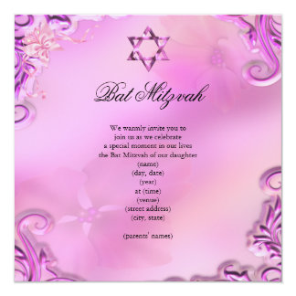 Bat Mitzvah Girl Pretty Pink Floral 13 Cm X 13 Cm Square Invitation Card