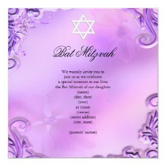 Bat Mitzvah Girl Pretty Purple Pink Floral 13 Cm X 13 Cm Square Invitation Card