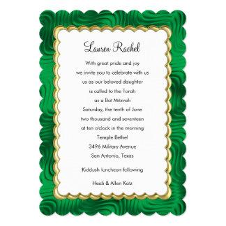 "Bat Mitzvah ""Gold"" Scallop Frame Emerald Green 13 Cm X 18 Cm Invitation Card"