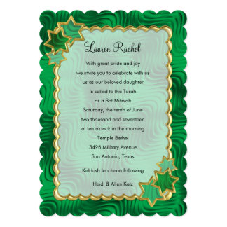 Bat Mitzvah Gold Scallop Frame with Stars 13 Cm X 18 Cm Invitation Card