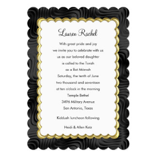 "Bat Mitzvah ""Gold"" Scalloped Frame with Black 13 Cm X 18 Cm Invitation Card"