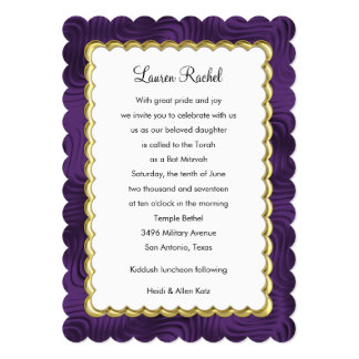 "Bat Mitzvah ""Gold"" Scalloped Frame with Plum 13 Cm X 18 Cm Invitation Card"