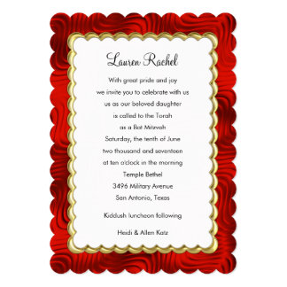 "Bat Mitzvah ""Gold"" Scalloped Frame with Red 13 Cm X 18 Cm Invitation Card"