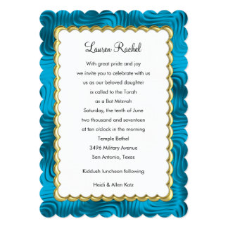 "Bat Mitzvah ""Gold"" Scalloped Frame with Teal Blue 13 Cm X 18 Cm Invitation Card"
