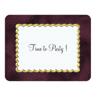 """Bat Mitzvah """"Gold"""" Scalloped Frame with Wine 4.25"""" X 5.5"""" Invitation Card"""