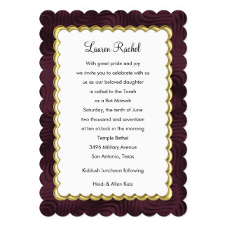 "Bat Mitzvah ""Gold"" Scalloped Frame with Wine 13 Cm X 18 Cm Invitation Card"