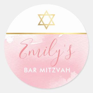 BAT MITZVAH gold star chic blush pink watercolor Classic Round Sticker