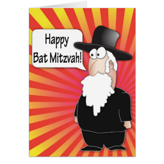 Bat Mitzvah greeting card - Jewish rabby character