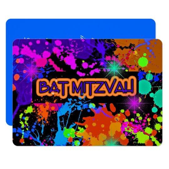 Bat Mitzvah Invitation, Neon Paint Splatter Card