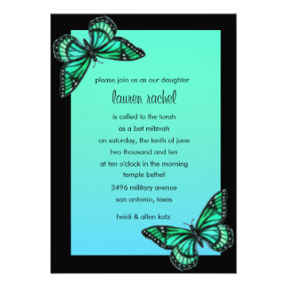 Bat Mitzvah Invitation Turquoise Butterfly