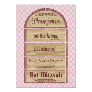 Bat Mitzvah Invitation, Wood Panels, Pink Pattern 13 Cm X 18 Cm Invitation Card