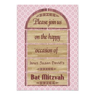 Bat Mitzvah Invitation, Wood Panels, Pink Pattern 13 Cm X 18 Cm Invitation Card