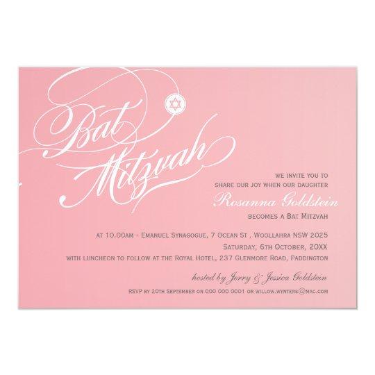 BAT MITZVAH INVITES stylish typography ombre pink