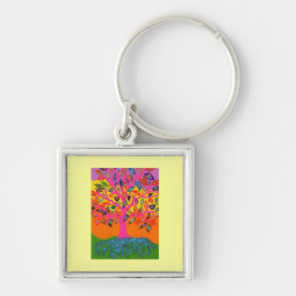 Bat Mitzvah 'KeyChain GiveAway' Tree Of Life Silver-Colored Square Key Ring