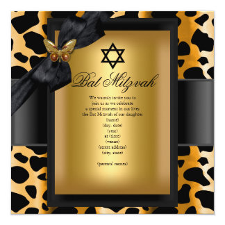 Bat Mitzvah Leopard Gold Black Butterfly 13 Cm X 13 Cm Square Invitation Card
