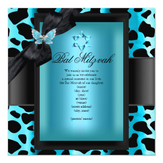 Bat Mitzvah Leopard Teal Blue Butterfly 13 Cm X 13 Cm Square Invitation Card