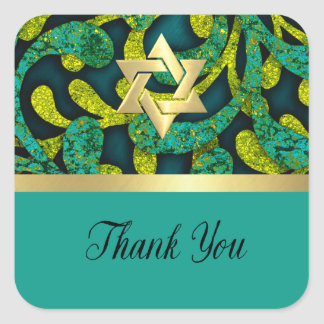 Bat Mitzvah Lime and Teal Layered Pattern Square Sticker