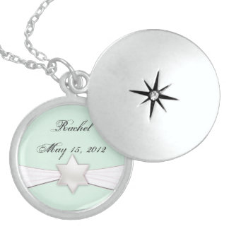 Bat Mitzvah necklace in mint green and white