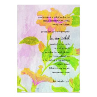 Bat Mitzvah Orange Hibiscus Watercolor Card
