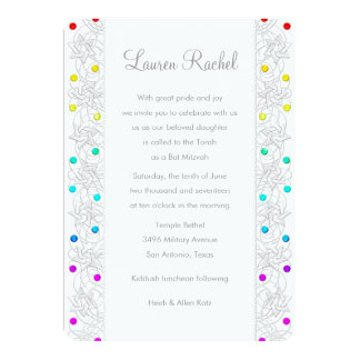 Bat Mitzvah Pearls and Lace Rainbow 13 Cm X 18 Cm Invitation Card