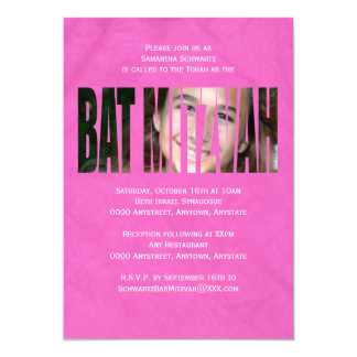 "Bat Mitzvah Photo Invitation in Hot Pink, Crinkled 5"" X 7"" Invitation Card"