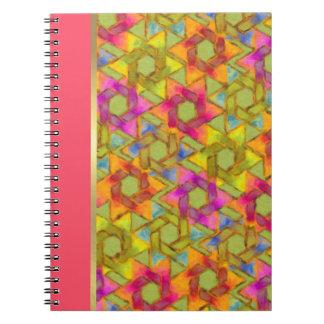 Bat Mitzvah Pink Green Orange Star Damask Spiral Notebook
