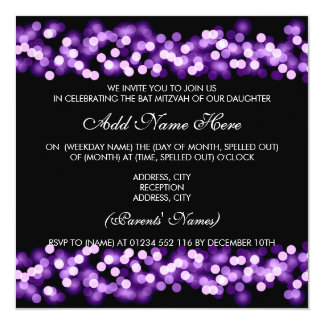 Bat Mitzvah Purple Hollywood Glam 13 Cm X 13 Cm Square Invitation Card
