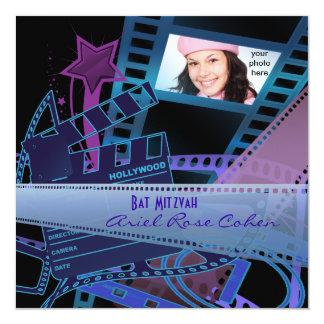 Bat Mitzvah Purple Photo Hollywood Star 13 Cm X 13 Cm Square Invitation Card