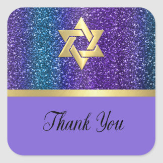 Bat Mitzvah Purple Teal Glittery Stripes Any Color Square Sticker