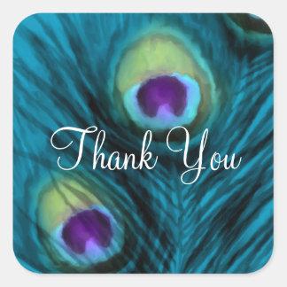 Bat Mitzvah Purple Teal Peacock Square Sticker
