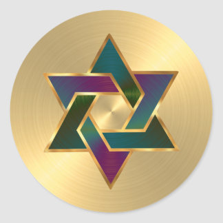 Bat Mitzvah Purple Teal Star of David on Any Color Round Sticker