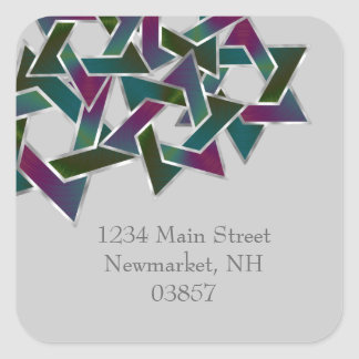 Bat Mitzvah Purple Teal Star of David on Any Color Square Sticker