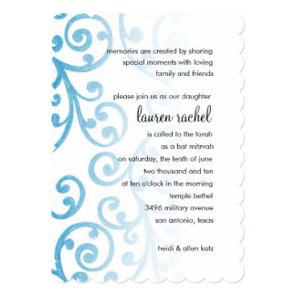 Bat Mitzvah Scroll Pattern Turquoise Personalized Announcements