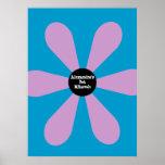 Bat Mitzvah Sign In Board Fun Flower Pink Poster