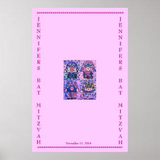 Bat Mitzvah - Sign In Poster - Four Pink Hamsa