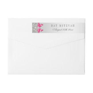 Bat Mitzvah Silver Sequins Hot Pink Bow Wrap Around Label