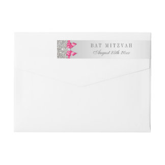 Bat Mitzvah Silver Sequins Hot Pink Bow Wraparound Return Address Label
