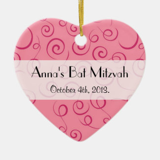 Bat Mitzvah - Swirled Pattern, Swirly Style - Pink Christmas Ornament