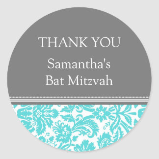 Bat Mitzvah Thank You Custom Name Favor Tags Aqua