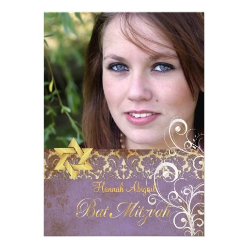 Bat Mitzvah/Vintage Damask/Swirls/lilac Personalized Invitations